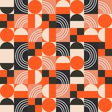 Geometric pattern in bright color blocks. Seamless vector abstract red and black shapes retro background stock illustration