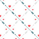 Geometric pattern with hearts and arrows. Romantic seamless vector pattern for Valentine's Day or wedding. Abstract texture can be used for greeting cards royalty free illustration