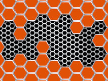 Geometric pattern of hexagons. Abstract orange metal background. EPS10 Royalty Free Stock Photo