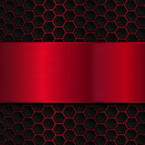 Geometric pattern of hexagons with red metallic banner. Abstract metal template background Royalty Free Stock Image