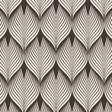 Geometric pattern. linear roof tiling or fish scale shapes motif or leaf leaves and flower. Pattern is on swatches panel Stock Photos