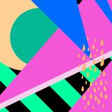 Geometric pattern in memphis 80s style with stripes background, drops, texture, lines, dots, bright colors. Vector illustration. Geometric pattern in memphis vector illustration