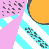 Geometric pattern in memphis 80s style with stripes background, drops, texture, lines, dots, bright colors. Vector illustration. Geometric pattern in memphis royalty free illustration