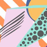 Geometric pattern in memphis 80s style with stripes background, drops, texture, lines, dots. Vector illustration. Geometric pattern in memphis 80s style with royalty free illustration