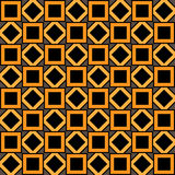 The geometric pattern of orange and black squares and rhombuses Stock Photography