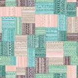 Geometric pattern in patchwork style. Seamless complex pattern. Ethnic and tribal motifs. Square multicolored patches. Print drawn by hand. Gray, green, mint Stock Photo