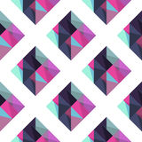 Geometric pattern with rombus. Abstract rhombus mosaic background design element. Pink, blue and purple colors Stock Photo