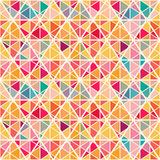 Geometric pattern with saturated colorful triangles. Geometric pattern with saturated colorful trianglse and crossed lines. All colors of  rainbow. Eps 10 Stock Photo
