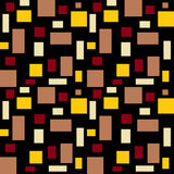 Geometric Pattern. Seamless geometric pattern with rectangles in  warm colors on black background Stock Image