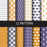 Geometric pattern set, autumn concept. 10 different vector seamless patterns. Endless texture can be used for wallpaper, pattern fills, web page,background,sur Royalty Free Stock Photos