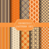 Geometric pattern set, autumn concept. Halloween pattern, Orange Perfect as Halloween or Thanksgiving Background. Pattern Swatches vector Endless texture can be Royalty Free Stock Photos