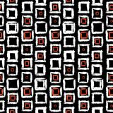 Geometric pattern with small hand painted squares. Vector geometric pattern with small hand painted squares placed in rows in bright red, white and black can be Royalty Free Stock Image