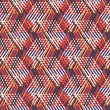 Geometric pattern with striped triangles. Vector seamless geometric pattern with striped triangles, abstract diagonal shapes in bright colors. Hand drawn stock illustration