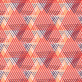 Geometric pattern with striped triangles. Vector seamless geometric pattern with striped triangles, abstract dynamic shapes in bright colors. Hand drawn stock illustration