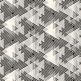 Geometric pattern with striped triangles. Vector geometric seamless pattern with lines and overlapping triangles in black and white. Striped modern bold print in royalty free illustration