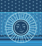 Geometric pattern with sun symbol Stock Image