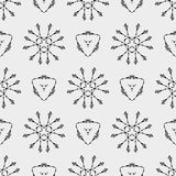 Geometric pattern with triangle and ethnic floral circles Royalty Free Stock Images