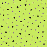 Geometric pattern with triangles, circles, rhombs. Seamless vect. Geometric pattern. Seamless vector background - violet triangles, circles, rhombs on green Stock Image
