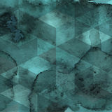 Geometric Pattern on Watercolor Background Stock Image
