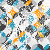 Geometric pattern with white paint strokes and drips stock illustration