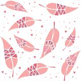 Patterned feathers or leaves repeat pattern. Geometric patterned feathers or leaves repeat pattern Royalty Free Stock Photo