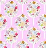 Geometric patterns floral. Seamless Geometric floral pattern on a pink background Stock Photography