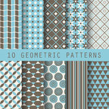 10 geometric patterns. 10 retro different vector  patterns. Endless texture for wallpaper, fill, web page background, surface texture. Set of monochrome Stock Photo