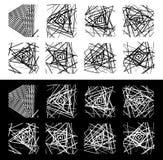 8 geometric patterns. Rough, edgy monochrome textures set. Royalty free vector illustration royalty free illustration