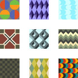 Geometric Patterns Set 3. A set of 9 seamlessly tiling patterns in trendy colors. See other pattern collections in my gallery Royalty Free Stock Image
