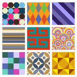 Geometric Patterns Set 4. A set of 9 seamlessly tiling patterns in trendy colors. See other pattern collections in my gallery Stock Photo