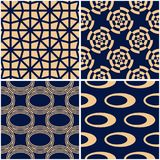 Geometric patterns. Set of golden blue seamless backgrounds. Vector illustration Stock Photography