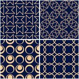 Geometric patterns. Set of golden blue seamless backgrounds. Vector illustration Stock Photos