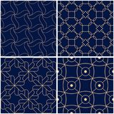 Geometric patterns. Set of golden blue seamless backgrounds. Vector illustration Stock Images