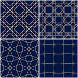 Geometric patterns. Set of golden blue seamless backgrounds. Vector illustration Royalty Free Stock Photos