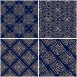 Geometric patterns. Set of golden blue seamless backgrounds. Vector illustration Stock Photo