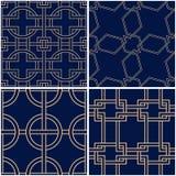 Geometric patterns. Set of golden blue seamless backgrounds. Vector illustration Stock Image