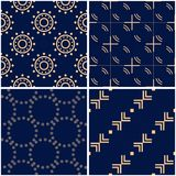 Geometric patterns. Set of golden blue seamless backgrounds. Vector illustration Royalty Free Stock Photo