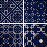 Geometric patterns. Set of golden blue seamless backgrounds. Vector illustration Stock Photography
