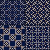 Geometric patterns. Set of golden blue seamless backgrounds. Vector illustration Stock Photos