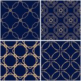 Geometric patterns. Set of golden blue seamless backgrounds. Vector illustration Royalty Free Stock Image