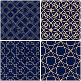 Geometric patterns. Set of golden blue seamless backgrounds. Vector illustration Royalty Free Stock Images