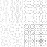 Geometric patterns. Set of light gray and white seamless backgrounds. Vector illustration Stock Photo