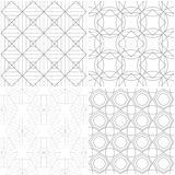 Geometric patterns. Set of light gray and white seamless backgrounds. Vector illustration Stock Image