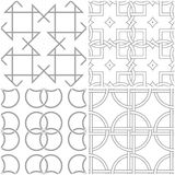Geometric patterns. Set of light gray and white seamless backgrounds. Vector illustration Royalty Free Stock Photos