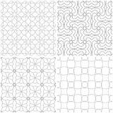 Geometric patterns. Set of light gray and white seamless backgrounds. Vector illustration Stock Images