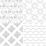 Geometric patterns. Set of light gray and white seamless backgrounds. Vector illustration Royalty Free Stock Photo