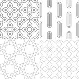 Geometric patterns. Set of light gray and white seamless backgrounds. Vector illustration Stock Photography