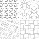 Geometric patterns. Set of light gray and white seamless backgrounds. Vector illustration Stock Photos