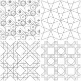 Geometric patterns. Set of light gray and white seamless backgrounds. Vector illustration Royalty Free Stock Images