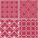 Geometric patterns. Set of pale red seamless backgrounds. Vector illustration Royalty Free Stock Photography